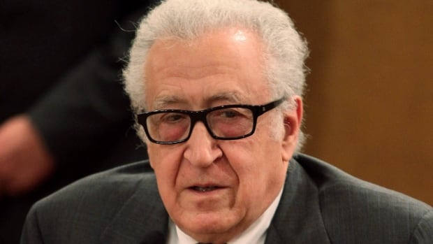 UN-Arab League envoy to Syria Lakhdar Brahimi speaks at a press conference in Damascus Friday. Brahimi urged both the Syrian government and the opposition ton attend a planned peace conference in Geneva.