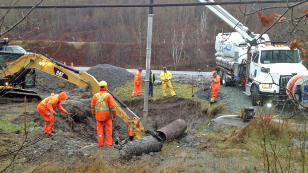Crews were working to repair a water main break along Municipal Road #55 in Naughton on Friday. Residents from Simon Lake Drive east in Naughton to Panache Lake Road in Whitefish were expected to be without water for most of the day.