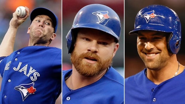 From left, Blue Jays closer Casey Janssen, first baseman Adam Lind and infielder Mark DeRosa have had the options in their contracts for 2014 picked up by the team.