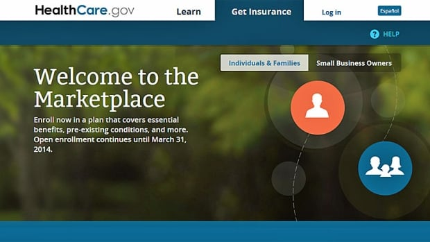 A landing page on the not very well functioning Obamacare website. Long waits and error messages have bedevilled those who have been trying to sign up.