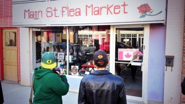 Wetaskiwin residents pay tribute Friday to an elderly couple killed by a train at a rail crossing Thursday. The couple ran the Main Street Flea Market in the town 65 kilometres south of Edmonton.