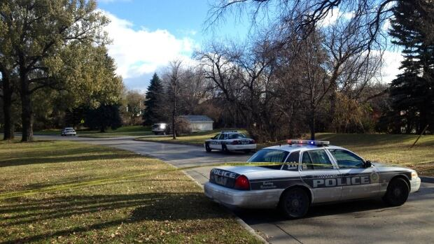 Police blocked off a portion of Wellington Crescent near Chataway Boulevard on Friday afternoon as part of a large police presence in Tuxedo.