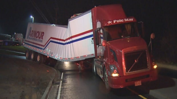 A truck suffered structural failure in Enfield, N.S., Friday night.