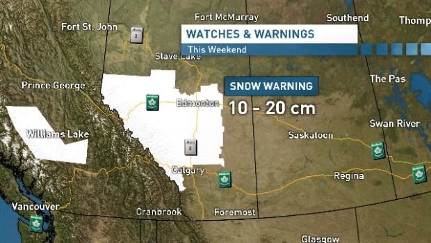 CBC weather specialist Craig Larkins said parts of central and southern Alberta should brace for a heavy snowfall this weekend.