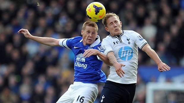 James McCarthy of Everton, left, jumps for a header with Lewis Holtby of Tottenham at Goodison Park on November 03, 2013 in Liverpool, England.