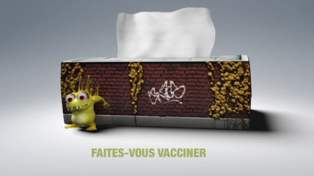 Quebec's public health agency is using television commercials and online videos to promote its flu vaccine campaign.