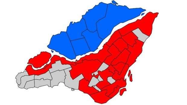 In most of Montreal's demerged municipalities (grey) the mayors' seats were acclaimed.