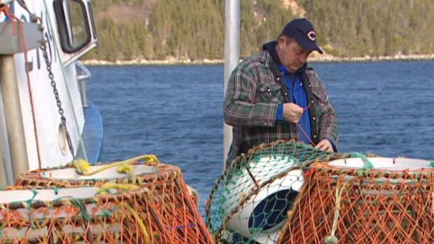 A fisherman ties up some loose ends on his crab pots in eastern Newfoundland.