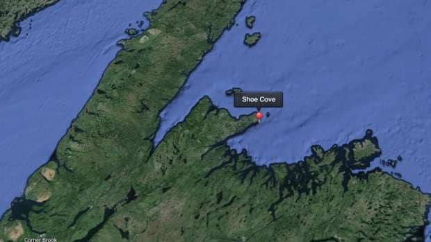 A map shows the approximate location of the vessel Triple Seven, which caught fire off Shoe Cove, Notre Dame Bay on Monday morning.