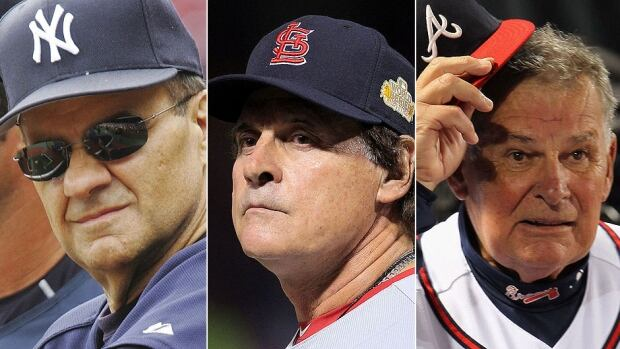 From left, Hall of Fame inductees Joe Torre, Tony La Russa and Bobby Cox each of the won more than 2,000 games in managerial careers that spanned more than four decades.