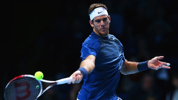 Juan Martin Del Potro of Argentina during the match against Richard Gasquet on November 4, 2013 in London, England.