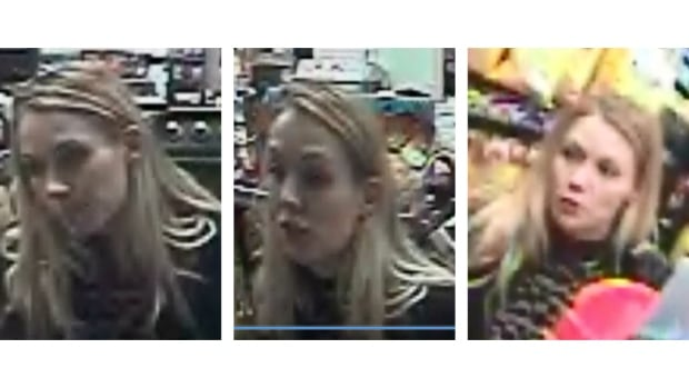 Police are looking for this woman, suspected of taking a poppy donation can from a Windmill Road gas station Sunday.