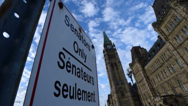 "A ""Senators Only"" parking sign is displayed on Parliament Hill in Ottawa on Tuesday, Nov. 5, 2013."