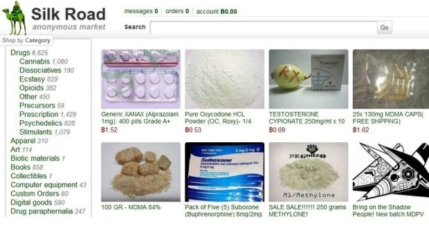 This frame grab from the old Silk Road website shows thumbnails for illegal drugs and products allegedly available on the site. The new site has the same look.
