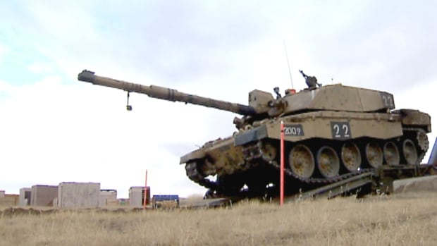 A tank rolls across the grounds at CFB Suffield in a training exercise earlier this week. A controlled explosion of a tanker at the Suffield Research Centre's Experimental Proving Ground located 40 kilometres from Medicine Hat could be heard within the city limits today.