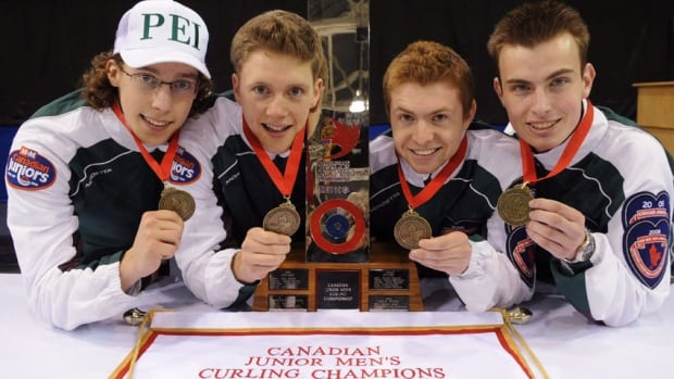 Brett Gallant, left, and Adam Casey, second from left, were Canadian Junior Men's Curling champions for P.E.I. in 2009.