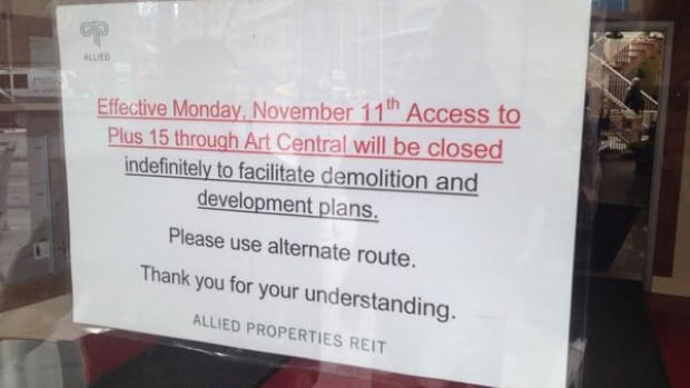 Art Central shop owners were told the Plus 15 link to the building open through the Christmas shopping season will not close until the end of this year after this notice was posted earlier this week.