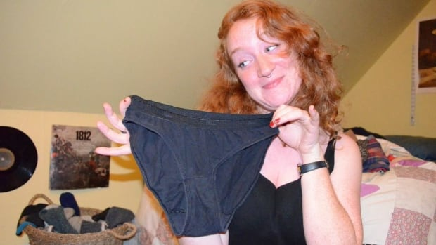 Ana Matisse Donefer-Hickie poses with her only pair of 100 per cent underwear