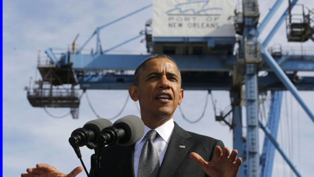 U.S. President Barack Obama talks about the importance of growing the U.S. economy while at the Port of New Orleans in Louisiana on Nov. 8.