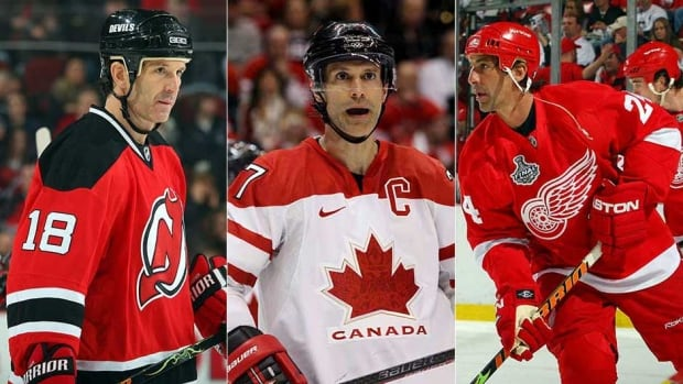 From left to right, Brendan Shanahan, Scott Niedermayer and Chris Chelios are part of the 2013 Hockey Hall of Fame Class.