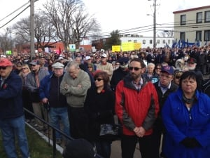 Crowds listen to speeches