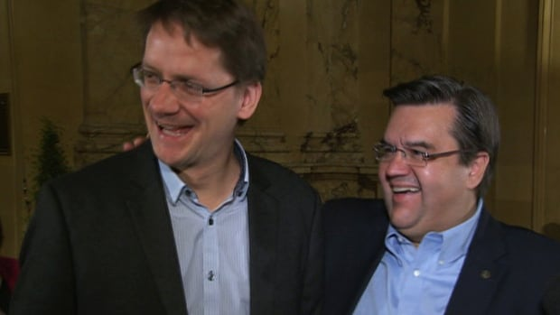 Quebec Municipal Affairs Minister Sylvain Gaudreault (left) met with Montreal mayor-elect Denis Coderre Saturday to discuss the city's future during the new mayor's term.