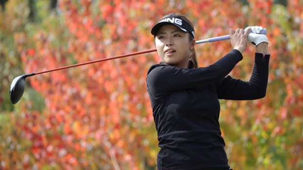 Yuki Ichinose of Japan hits a tee shot on the second hole during the second round of the Mizuno Classic at Kintetsu Kashikojima Country Club Saturday in Shima, Japan.