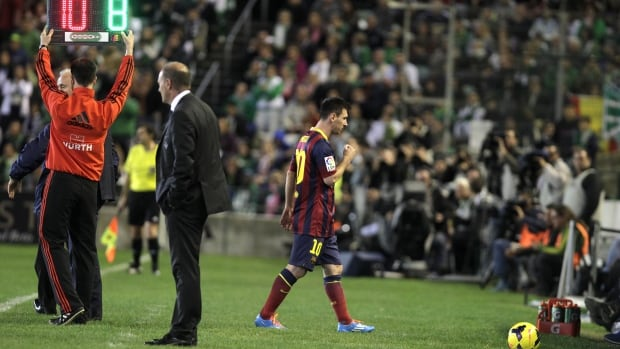 Barcelona's Lionel Messi is substituted during the club's match at the Benito Villamarin stadium, in Seville, Spain, on Sunday.