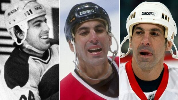 Hall of Fame defenceman Chris Chelios began his NHL career with the Canadiens, left, with whom he won a Stanley Cup in 1986, played eight-plus seasons with his hometown Blackhawks, middle, and won Cups with the Red Wings, right, in 2002 and 2008.
