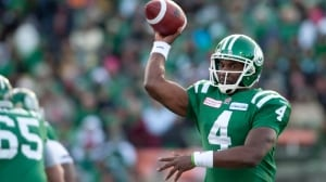 Saskatchewan Roughriders quarterback Darian Durant attempts a pass against the B.C. Lions during first half CFL football action in the western semi-final in Regina on Sunday.