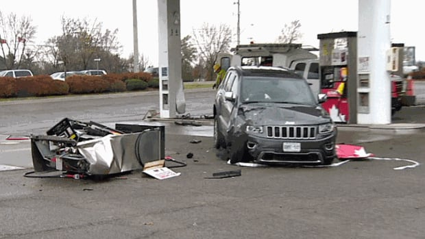 A vehicle smashed into the pump at this gas station at Bovaird Drive and Chinguacousy Road in Brampton on Monday afternoon. The crash happened shortly after a break-and-enter in the area.