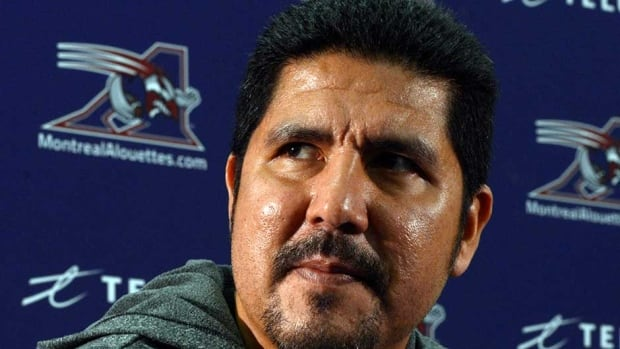 Montreal Alouettes quarterback Anthony Calvillo speaks to the media after cleaning out his locker on Monday in Montreal. The Alouettes lost to the Hamilton Tiger-Cats in the first round of the CFL playoffs.