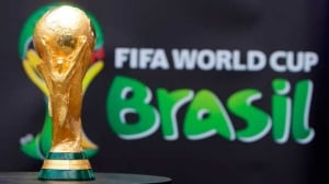 The 2014 FIFA World Cup Brazil trophy is displayed at an event at Copacabana beach in Rio de Janeiro in 2010.