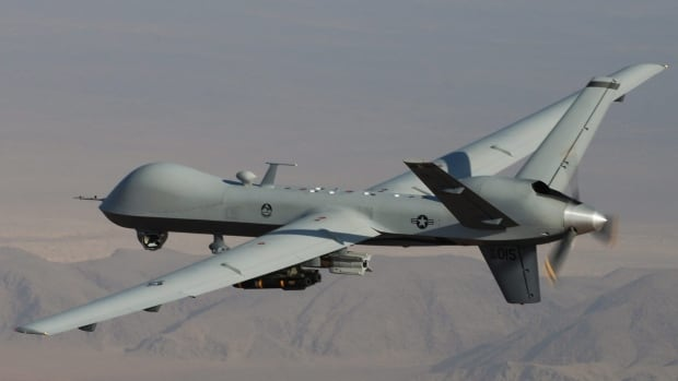 Military officials say a MQ-9 Reaper drone, seen here flying in Afghanistan, had taken off from the airfield at Fort Drum, N.Y., and was operating in approved airspace over the eastern side of Lake Ontario when it was lost.