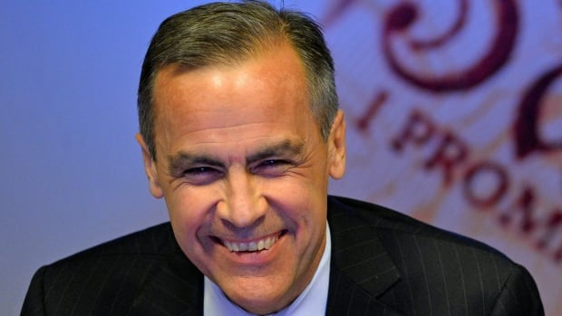Bank of England Governor Mark Carney smiles during the bank's quarterly inflation report news conference at the Bank of England in London on Wednesday. Britain's unemployment rate will fall much faster than previously expected due to a strengthening economic recovery, the bank said Wednesday, but it stressed that it was in no hurry to raise interest rates.