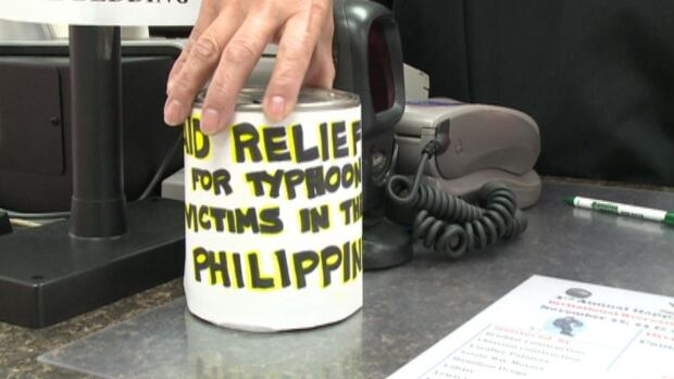 Hamilton Drugs in Happy Valley-Goose Bay has placed a donation can by its cash register in aid of the victims of Typhoon Haiyan in the Philippines.