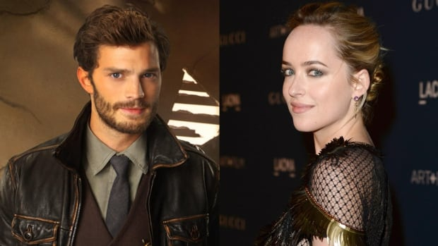 This composite image shows the stars of the upcoming Fifty Shades of Grey film: Jamie Dornan, left, and Dakota Johnson.