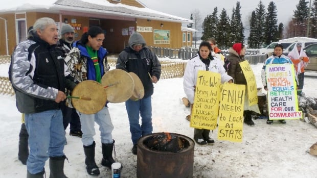 The Pukatawagan health station has been closed for the day as staff and community members protest a shortage of nurses.