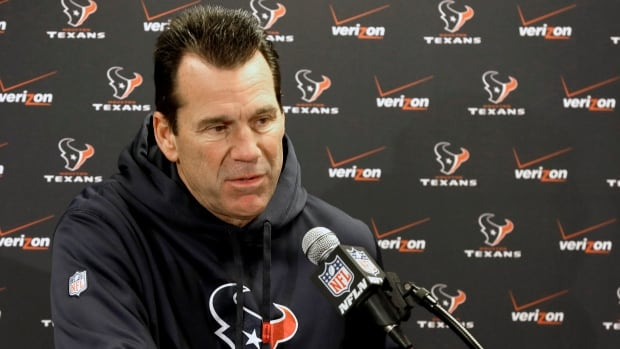 Houston Texans head coach Gary Kubiak speaks to the media Wednesday in Houston after running his first practice since suffering a mini-stroke during a game nearly two weeks ago. The Texans are hoping to break a franchise-long seven-game losing streak when they host Oakland Sunday.