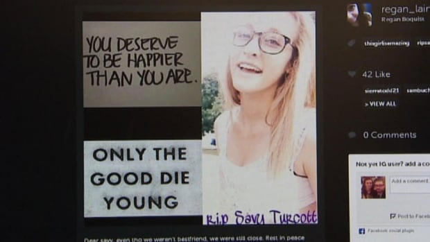 An online tribute page dedicated to the teen Savy Turcotte was created by one of her friends.