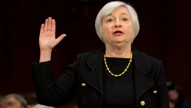 Janet Yellen,  President Barack Obama's nominee to become Federal Reserve Board chair, is sworn in on Capitol Hill in Washington on Thursday Nov. 14, 2013, prior to testifying before the Senate Banking Committee hearing.