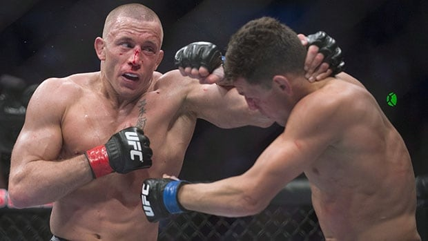 Georges St-Pierre, left, successfully defended his UFC welterweight title against Nick Diaz last March in Montreal.