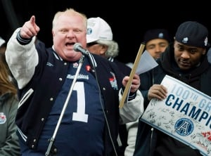 Mayor Rob Ford celebrates Argos' Grey Cup win in 2012