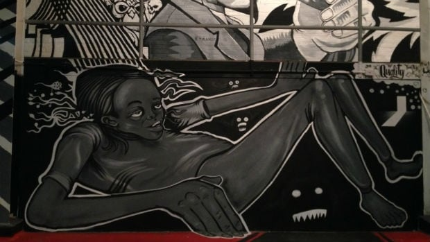 Detail from En Masse exhibit at Graffiti Gallery, November 2013
