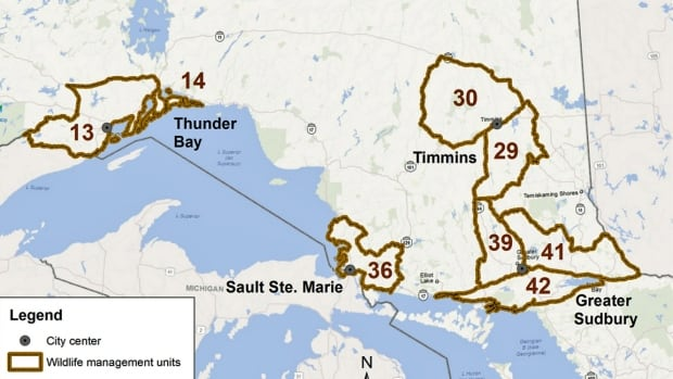 Bear hunt areas for Ontario's proposed spring bear hunt pilot program.