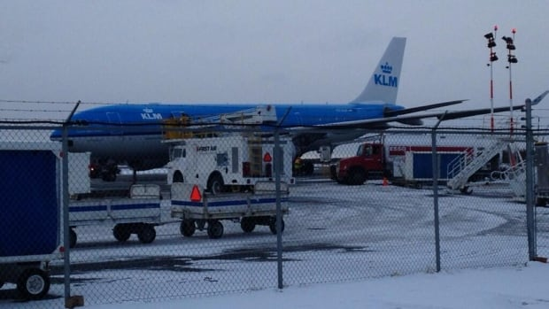 A KLM flight made an emergency landing in Yellowknife Thursday afternoon after a woman went into labour on board.