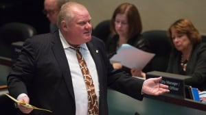 Mayor Rob Ford speaks at a city council meeting in Toronto on Thursday.
