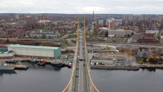 A view of the Halifax approach to the bridge from the highest pinnacle.