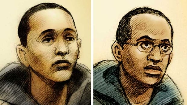 Court sketches of Jamaal Bond, left, and Nicholas Swaby, two of the accused men who were arrested and charged in the 2009 death of 27-year-old Christopher Skinner.