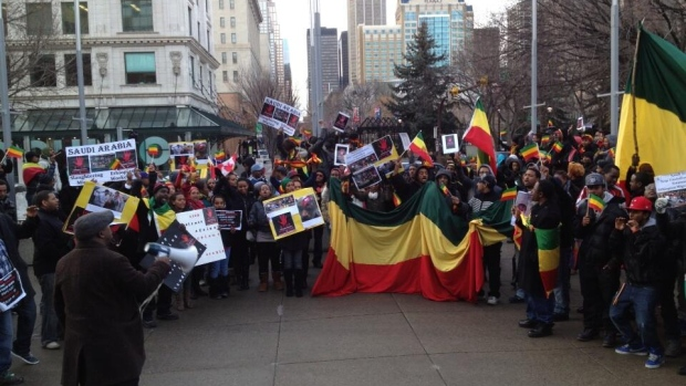 Roughly 100 protesters made their way to City Hall Friday afternoon to demonstrate against allegations that Ethiopian migrant workers are facing violence in Saudi Arabia.